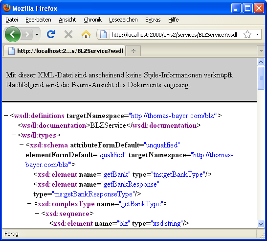 WSDL File in Browser